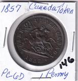 1857 Canada Token One Penny