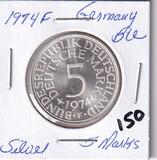 1974F Silver Germany Proof 5 Marks CH BU