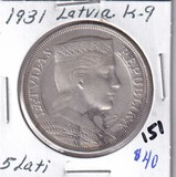 1931 Silver Latvia 5 Lati