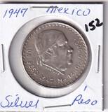 1947 Silver Mexico One Peso
