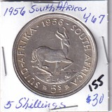 1956 Silver South Africa 5 Shillings