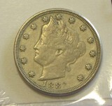 1883 V NICKEL WITH CENTS