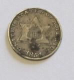 1854 SILVER 3 CENT PIECE
