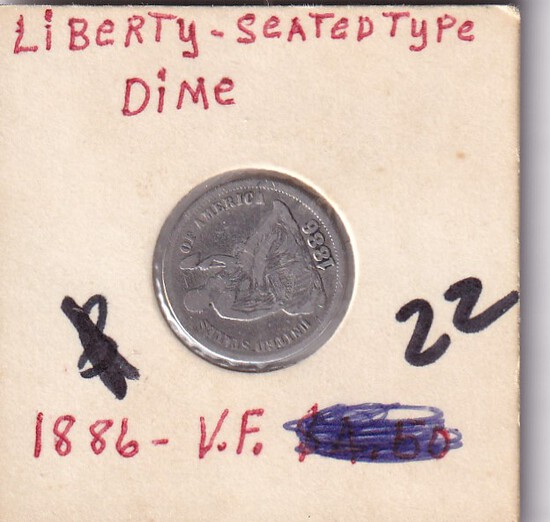 1886 SEATED DIME