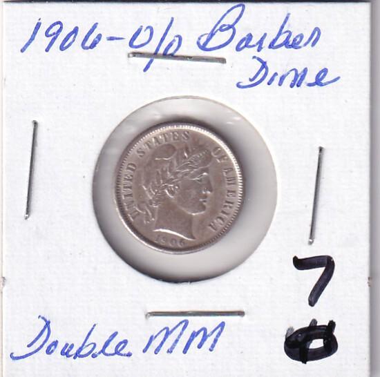 1906 O-O BARBER DIME