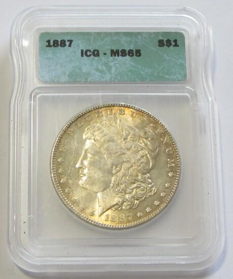 $1 1887 GEM ICG MS 65 MORGAN