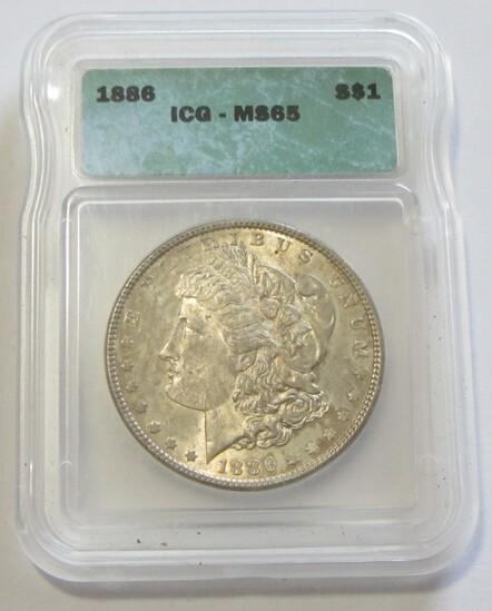 $1 1886 MORGAN GEM ICG 65