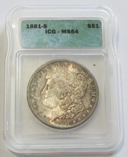 $1 1881-S MORGAN ICG 64