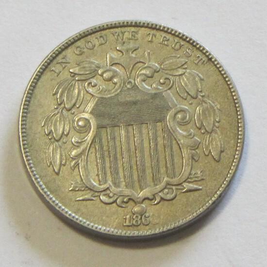 1868 AU SHIELD NICKEL
