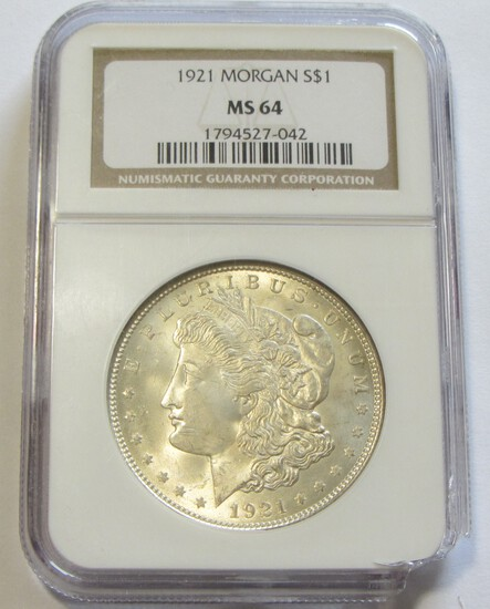 $1 1921 MORGAN NGC 64