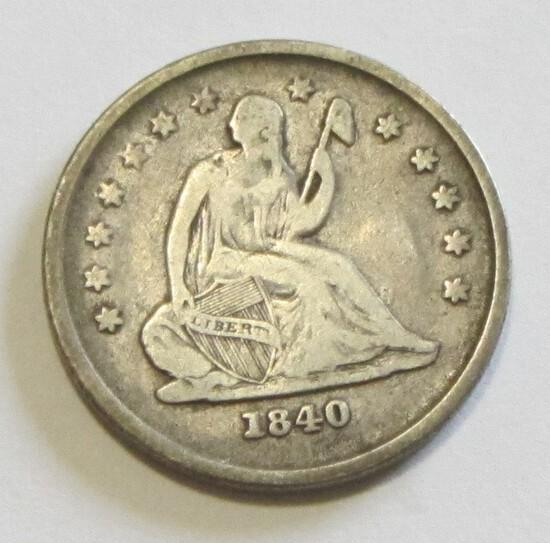 TOUGH DATE 1840-O SEATED QUARTER MID GRADE