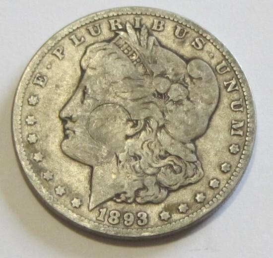 BETTER DATE $1 1893 MORGAN SILVER DOLLAR