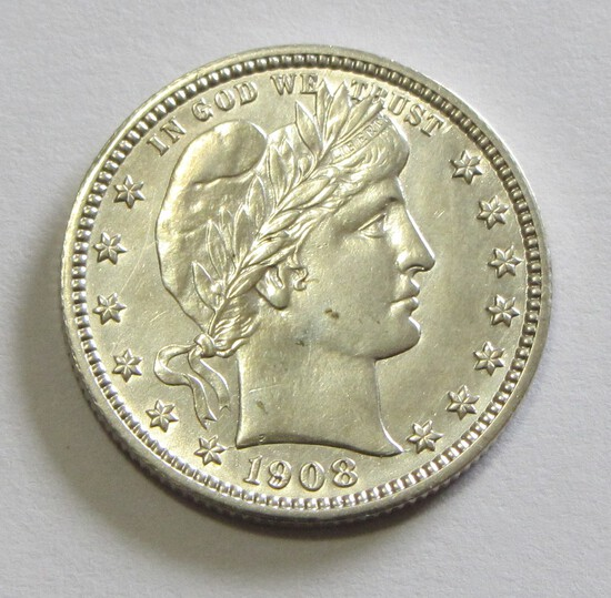 VERY PLEASING 1908-0 UNCIRCULATED BARBER QUARTER