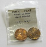Lot of 2 - 1985-D Lincoln Cent Struck of Brass Plated Planchet