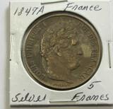 1847A Silver France 5 Francs