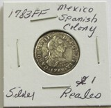 1783FF Silver Mexico Spanish Colony 1 Reales