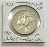 1928 Silver Portugal 10 Escudos