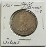 1921 Silver Straits Settlement 50 Cent