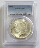$1 1922 PEACE PCGS 63