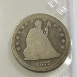 1877-CC SEATED QUARTER TOUGHER COIN