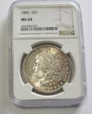 $1 1886 MORGAN NGC 64