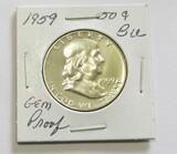 1959 Franklin Silver Proof Half Dollar CH BU