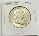 1963-D/D Double MM Franklin Silver Half Dollar