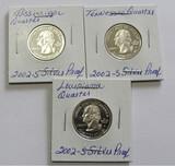 Lot of 3 - 2002-S Washington Silver Proof Cameo Quarter BU