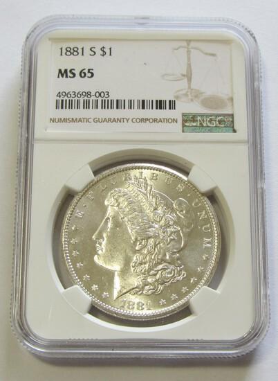 $1 1881 S GEM MORGAN NGC MS65