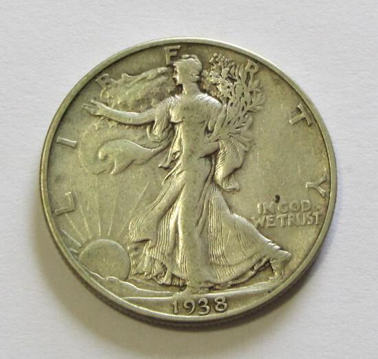 KEY 1938-D WALKING LIBERTY HALF