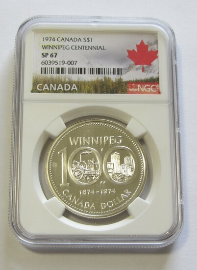 $1 SILVER 1974 NGC CANADA 67