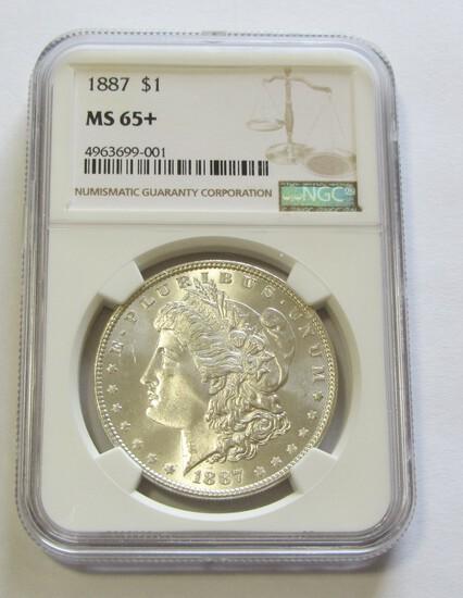 $1 1887 MORGAN NGC MS 65+ PLUS