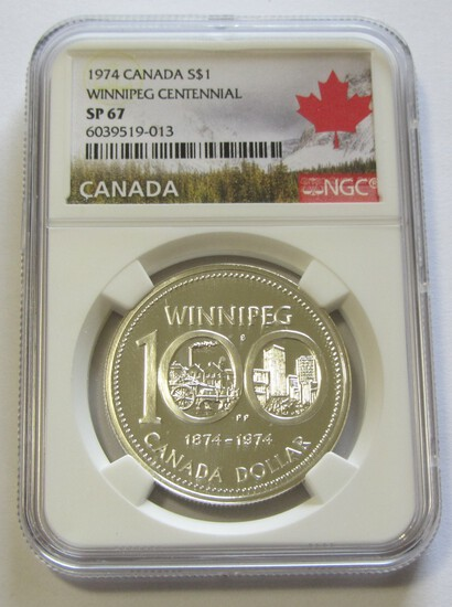 $1 1974 SILVER CANADA NGC 67