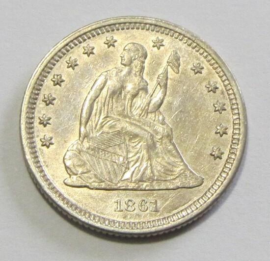 1861 HIGH GRADE SEATED QUARTER 25C