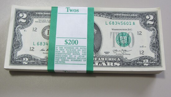 BEP PACK OF 100 $2 BILLS IN ORIGINAL WRAPPER GEM UNCIRCULATED SAN FRANCISCO