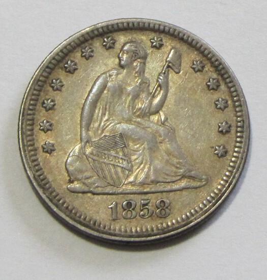 1858 SEATED QUARTER