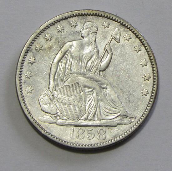 HIGH GRADE 1858 SEATED HALF DOLLAR