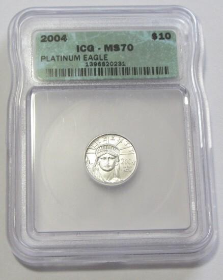 $10 PLATINUM EAGLE ICG MS 70