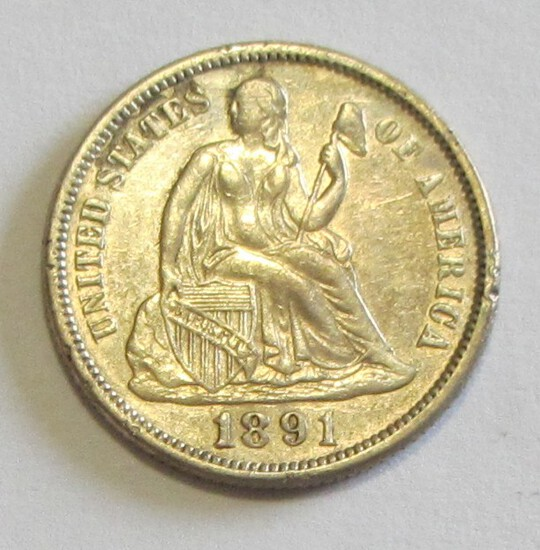 HIGH GRADE 1891 SEATED DIME
