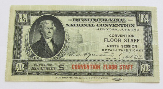 1924 DEMOCRATIC CONVENTION TICKET FLOOR STAFF