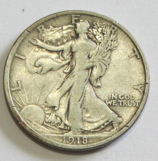 1918-D BETTER DATE WALKING LIBERTY HALF