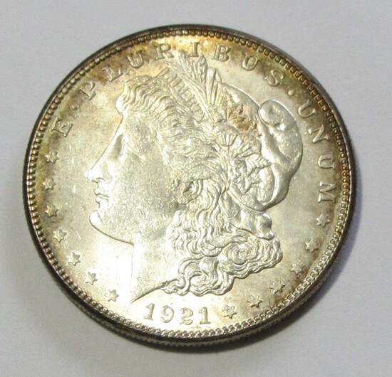 BU $1 1921-S MORGAN TONED