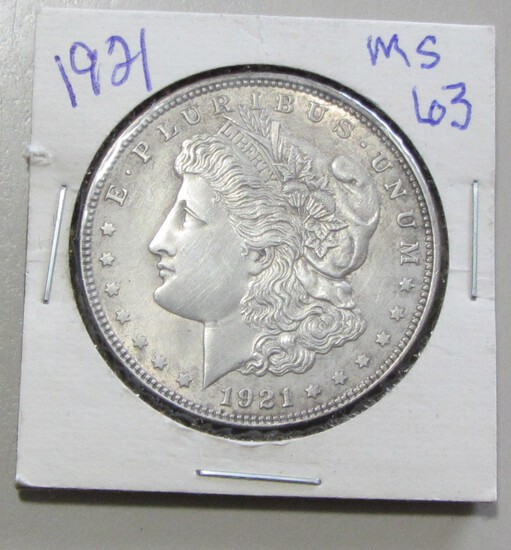 $1 1921 MORGAN SILVER DOLLAR SOME HAIRLINES