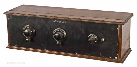 "Acme Acmeflex - 5-tube set using the Acme ""D"" coil tuner and large audio transformers."