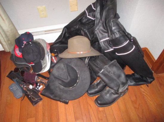 XXL Leather Harley Davidson Jacket, Medium Chaps, 9 ½ sized boots, sunglasses