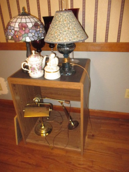 Converted Oil Lamp, Other Lamps, Glassware and China in Fiberboard Cabinet