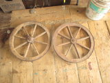 Pair Wooden Cart Wheels 20
