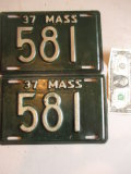 1937 Masssachusetts Low Number License Plates