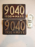 1930 Low Number Massachusetts Number Plates