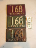 Pair Low Number 1933 License Plates and a 1932 Plate